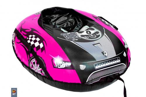 Тюбинг овальный Машинка комфорт со спинкой розовая