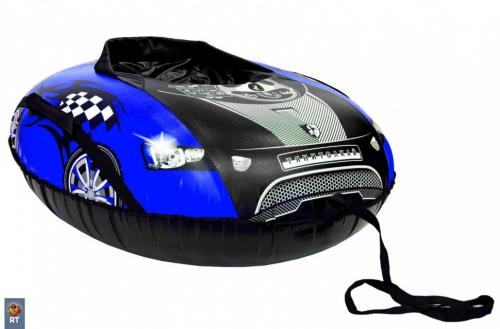 Тюбинг овальный Машинка комфорт со спинкой синяя