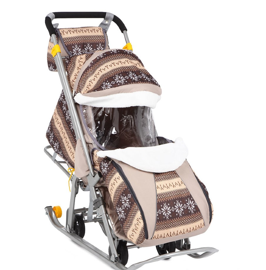 Санки-коляска Галактика Kids 1 Скандинавия коричневая