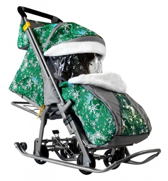 Санки-коляска Галактика Kids 2 Елки на зеленом